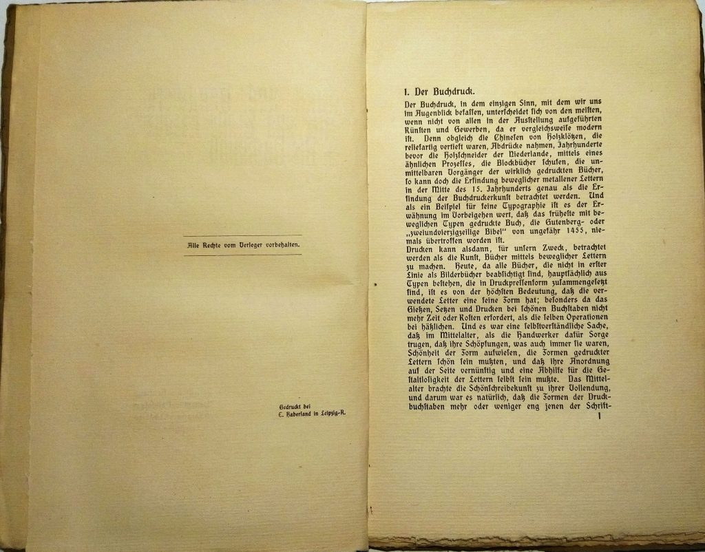 Kunst und Handwerk – Arts and Crafts Essays: II. Die Buchkunst. Leipzig: Hermann Seemann Nachfolger, 1901. S. 1